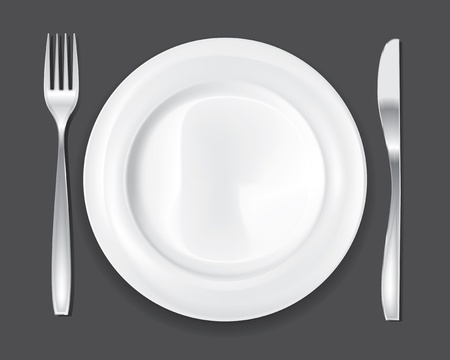 Empty dinner plate, drawing the knife and fork set Vector