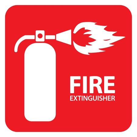 fire extinguisher sign: Dibujo de un extintor de fuego de color rojo en el suelo