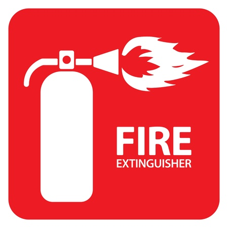 Drawing of a red fire extinguisher on the floor Vector