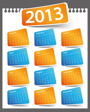 Design on a white background color 2013 calendar