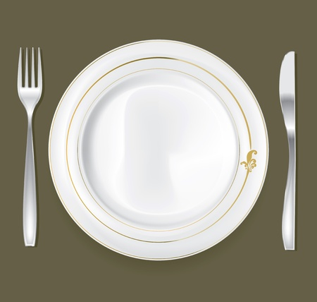 dinning table: Empty dinner plate, drawing the knife and fork set Illustration