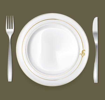 dinner setting: Plato vac�o, el dibujo del cuchillo y tenedor conjunto
