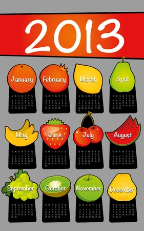 Gray 2013 calendar drawing drawn on the floor of fruit Vector