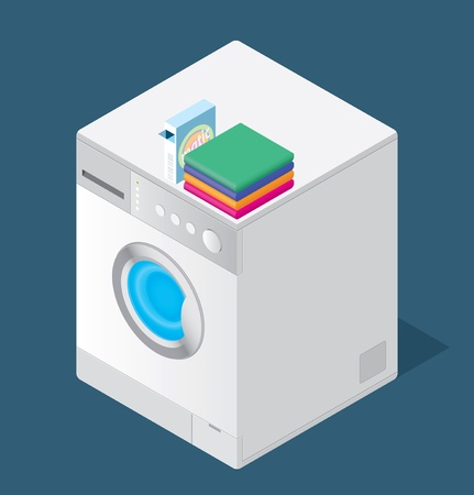 Color drawing of a washing machine on the floor Vector