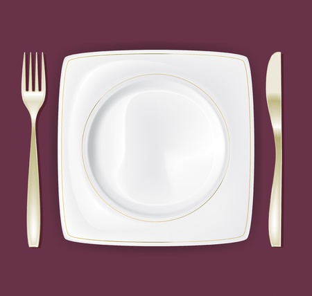 Empty dinner plate, drawing the knife and fork set 3 Vector