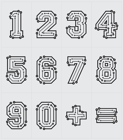 Drawing the electronic numbers are on a white background Vector