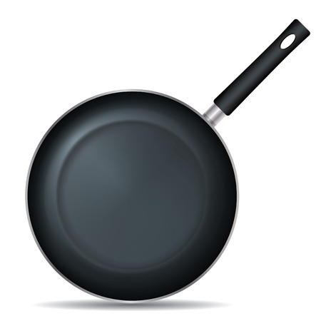 Drawing on the frying pan with a white background Vector