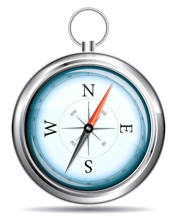 A realistic drawing of a compass on a white background Vector