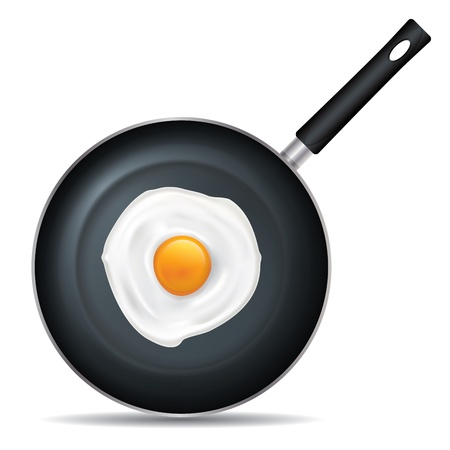 egg yolk: Drawing on the frying pan with a white background Illustration