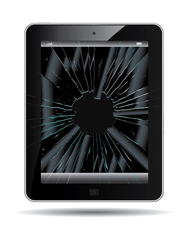 Crushed tablet PC drawing on a white background Vector