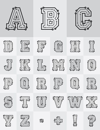Drawing the electronic alphabet are on a white background Vector