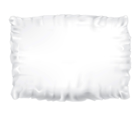 Drawing of a feather pillow on a white background