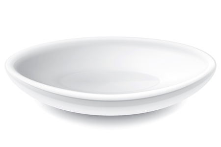 dinning table: Drawing on the plate of a white background Illustration
