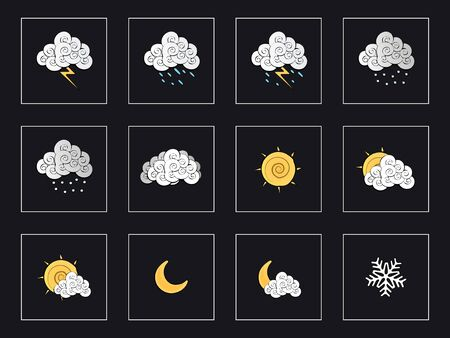 Drawings of weather icons on a white background Stock Vector - 15011933