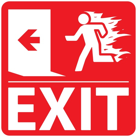 Emergency fire exit sign on a red background Illustration