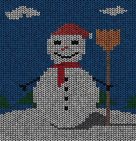 Drawing of a snowman shaped sweater pattern Vector