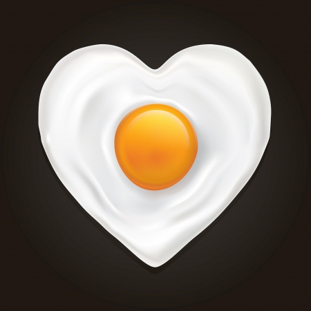 Drawing of a heart-shaped fried egg on a black background Vector