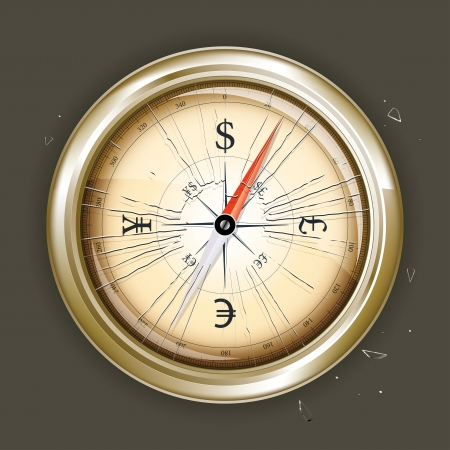 round: Drawing compass indicating the direction of the money