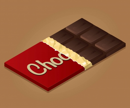 deliciously: Isometric drawing of a bar of chocolate on a colored background