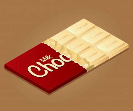deliciously: Isometric drawing of a bar of milk chocolate on a colored background