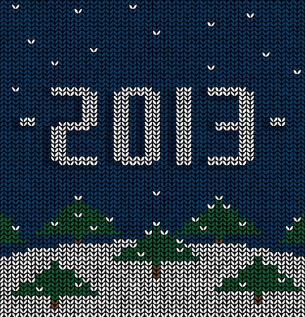 Sweater pattern, drawing on the new year Vector