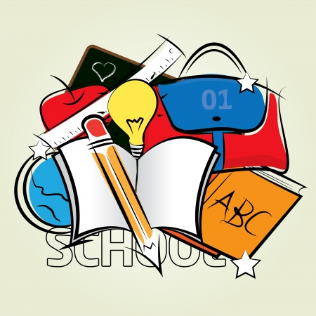 Color drawing of school supplies on the floor Vector