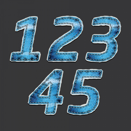 triple: Drawing numbers on the gray blue denim fabric