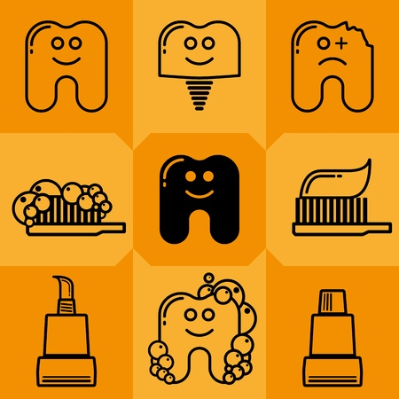 Teeth, tooth paste and tooth brush drawing Vector