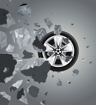 disrepair: Drawing of the wall smashed wheel on a black background