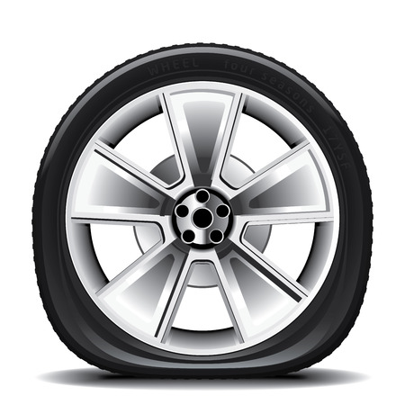 wheel: Drawing of the tire on a white background Illustration