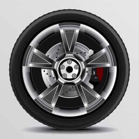 Drawing of a car tire on a white  Illustration