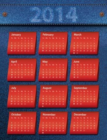 Design on a white background color 2014 calendar Stock Vector - 24019918