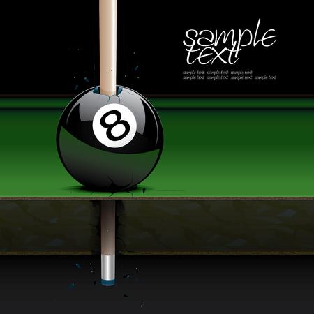 bola ocho: Dibujo mesa de billar realista y bola de set 3