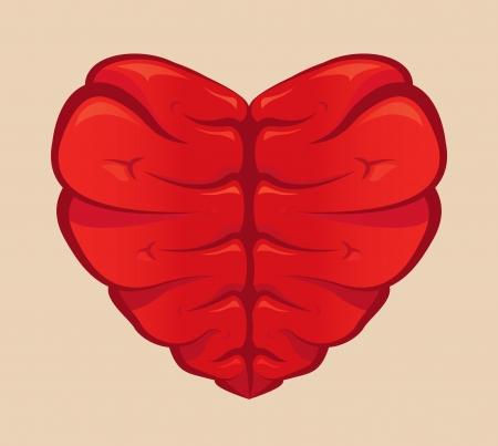 Hartvormige hersenen tekenen op een gekleurde achtergrond