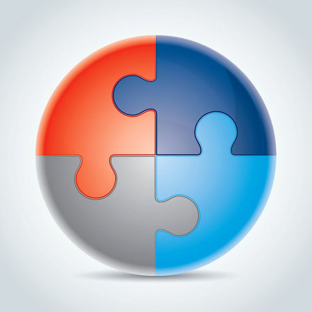 the explanation: Four made from colorful puzzle pieces vector illustration