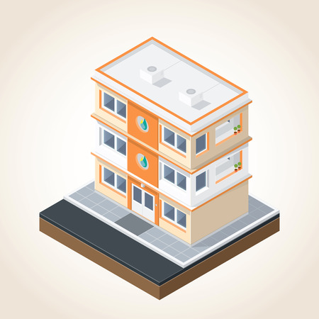 Isometric drawing image in terms of building Vector