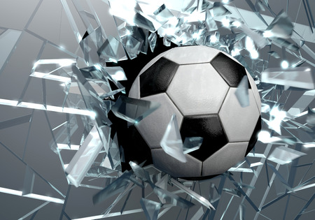 Three dimensional drawing of a soccer ball breaking glass photo