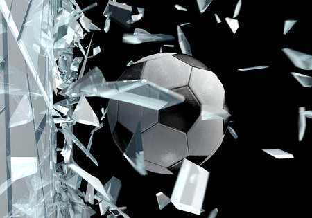 glass window: Three dimensional drawing of a soccer ball breaking glass