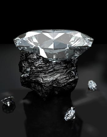 Diamond in de 3D-realistische houtskooltekening Stockfoto