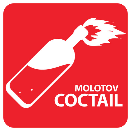 riot: Molotov cocktail symbol design work on a red background