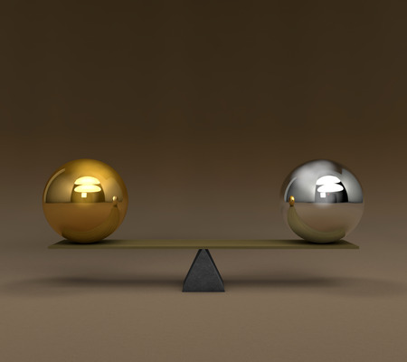 solidity: 3D conceptual image series in the balance Stock Photo