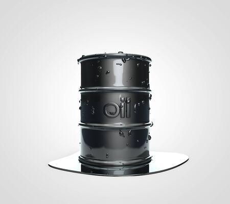 riesgo quimico: Dibujo realista 3D de un barril de petróleo Foto de archivo