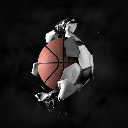 basketball: Transformation of the soccer ball in basketball Stock Photo