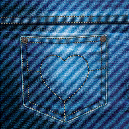 jeans pocket: Jeans realistic drawing on a colored background