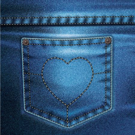 Jeans realistische tekening op een gekleurde achtergrond Vector Illustratie