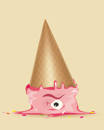 headboard: Coloured drawing of ice cream on the floor