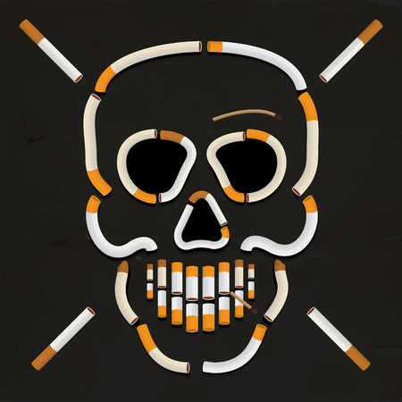 killing cancer: Vector drawing skull with cigarette series 1