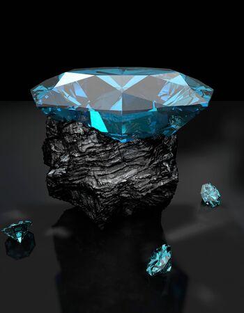 diamante negro: Diamante en el dibujo al carbón realista 3D Foto de archivo
