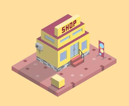 Zweistöckiger rot-gelber Supermarkt mit einem Banner und einem Bürgersteig auf gelbem Grund. Es gibt Treppen. Es gibt Büsche