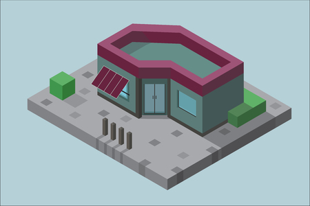 The building in isometric view with the vegetation on the concrete